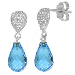 Genuine 4.53 ctw Blue Topaz & Diamond Earrings Jewelry 14KT White Gold - REF-25X6M
