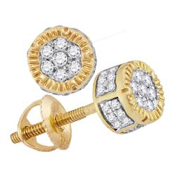 0.25 CTW Mens Diamond 3D Circle Cluster Stud Earrings 10KT Yellow Gold - REF-24Y2X