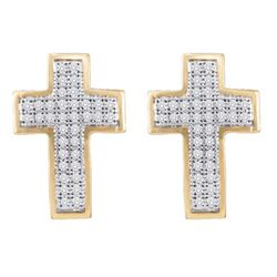 0.20 CTW Diamond Cross Earrings 10KT Yellow Gold - REF-19K4W