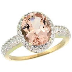 Natural 2.56 ctw Morganite & Diamond Engagement Ring 14K Yellow Gold - REF-66A2V
