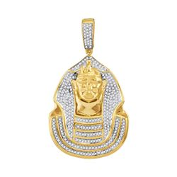 0.90 CTWMens Diamond Pharaoh Cluster Charm Pendant 10KT Yellow Gold - REF-75X2Y