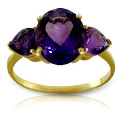 Genuine 4 ctw Amethyst Ring Jewelry 14KT Yellow Gold - REF-38T5A
