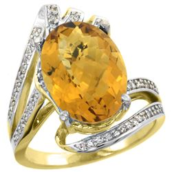 Natural 5.76 ctw quartz & Diamond Engagement Ring 14K Yellow Gold - REF-90V5F