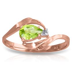 Genuine 0.41 ctw Peridot & Diamond Ring Jewelry 14KT Rose Gold - REF-26X6M
