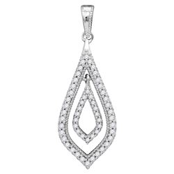0.25 CTW Diamond Oblong Nested Oval Pendant 10KT White Gold - REF-22M4H