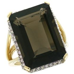 Natural 15.06 ctw Smoky-topaz & Diamond Engagement Ring 10K Yellow Gold - REF-64A3V