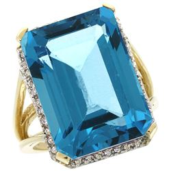 Natural 15.06 ctw Swiss-blue-topaz & Diamond Engagement Ring 14K Yellow Gold - REF-81H9W
