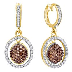 0.75 CTW Cognac-brown Color Diamond Oval Dangle Earrings 10KT Yellow Gold - REF-41Y9X