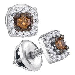0.25 CTW Brown Color Diamond Square Stud Earrings 10KT White Gold - REF-14Y9X