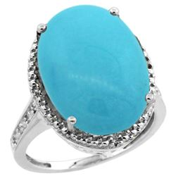 Natural 13.6 ctw Turquoise & Diamond Engagement Ring 10K White Gold - REF-94R6Z