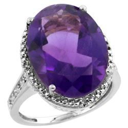 Natural 13.6 ctw Amethyst & Diamond Engagement Ring 10K White Gold - REF-59G2M