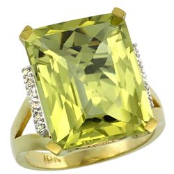 Natural 12.13 ctw Lemon-quartz & Diamond Engagement Ring 14K Yellow Gold - REF-67Y2X