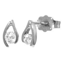 Genuine 0.20 ctw Diamond Anniversary Earrings Jewelry 14KT White Gold - REF-41F2Z