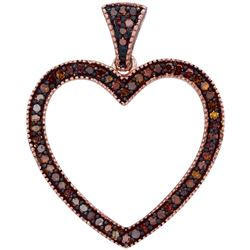 0.20 CTW Red Color Diamond Heart Love Pendant 10KT Rose Gold - REF-26Y3X