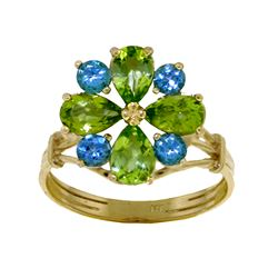 Genuine 2.43 ctw Peridot & Blue Topaz Ring Jewelry 14KT White Gold - REF-48Z3N