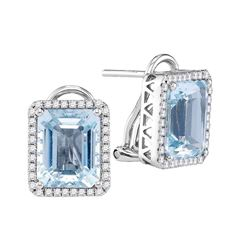 5.52 CTW Emerald-shape Created Aquamarine Stud Earrings 14KT White Gold - REF-209K9W