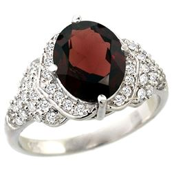 Natural 2.92 ctw garnet & Diamond Engagement Ring 14K White Gold - REF-105X5A