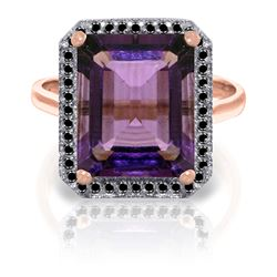Genuine 5.8 ctw Amethyst & Black Diamond Ring Jewelry 14KT Rose Gold - REF-79A8K