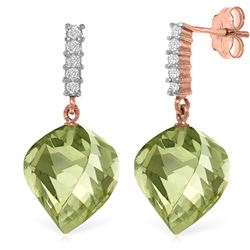 Genuine 26.15 ctw Green Amethyst & Diamond Earrings Jewelry 14KT Rose Gold - REF-61H2X