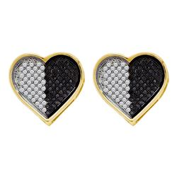 0.25 CTW Black Color Diamond Heart Screwback Earrings 10KT White Gold - REF-19H4M