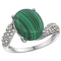 Natural 4.95 ctw malachite & Diamond Engagement Ring 14K White Gold - REF-47K6R