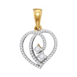 0.16 CTW Diamond 2-Stone Hearts Together Heart Pendant 10KT Yellow Gold - REF-14H9M