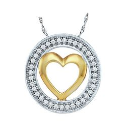 0.10 CTW Diamond Encircled Heart Pendant 10KT Two-tone Gold - REF-11K2W