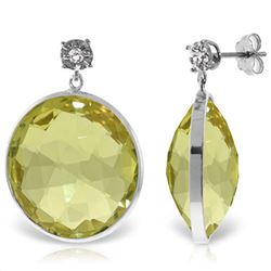 Genuine 34.06 ctw Lemon Quartz & Diamond Earrings Jewelry 14KT White Gold - REF-65W3Y