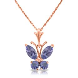 Genuine 0.60 ctw Tanzanite Necklace Jewelry 14KT Rose Gold - REF-27M5T