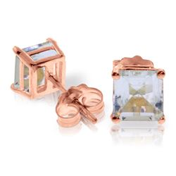 Genuine 1.75 ctw Aquamarine Earrings Jewelry 14KT Rose Gold - REF-29N2R
