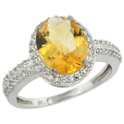 Natural 2.56 ctw Citrine & Diamond Engagement Ring 14K White Gold - REF-42A2V