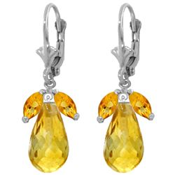 Genuine 14.4 ctw Citrine Earrings Jewelry 14KT White Gold - REF-46W7Y