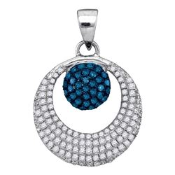 0.40 CTW Blue Color Diamond Cluster Circle Pendant 10KT White Gold - REF-24H2M