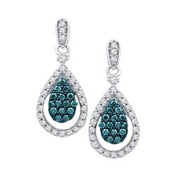 0.63 CTW Blue Color Diamond Teardrop Dangle Earrings 10KT White Gold - REF-52M4H