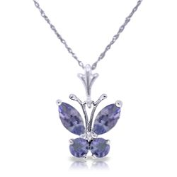 Genuine 0.60 ctw Tanzanite Necklace Jewelry 14KT White Gold - REF-27X5M