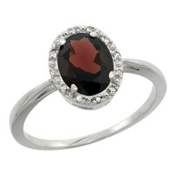 Natural 1.22 ctw Garnet & Diamond Engagement Ring 14K White Gold - REF-27Y5X