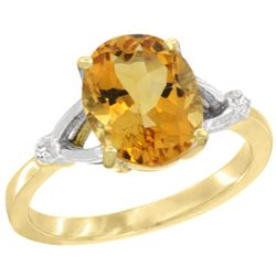 Natural 2.41 ctw Citrine & Diamond Engagement Ring 10K Yellow Gold - REF-24Y6X