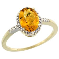 Natural 1.2 ctw Whisky-quartz & Diamond Engagement Ring 10K Yellow Gold - REF-16M7H