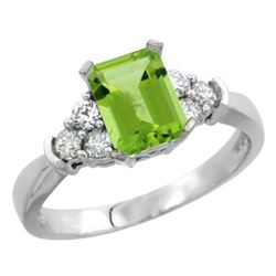 Natural 1.48 ctw peridot & Diamond Engagement Ring 14K White Gold - REF-52A2V
