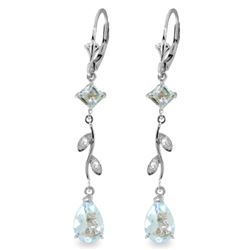 Genuine 3.97 ctw Aquamarine & Diamond Earrings Jewelry 14KT White Gold - REF-56M4T