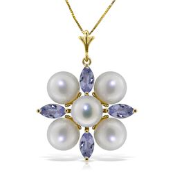 Genuine 6.3 ctw Tanzanite & Pearl Necklace Jewelry 14KT Yellow Gold - REF-69N7R