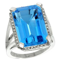Natural 15.06 ctw Swiss-blue-topaz & Diamond Engagement Ring 10K White Gold - REF-64R3Z