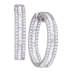 3.5 CTW Diamond In/Out Hoop Earrings 14KT White Gold - REF-299X9Y