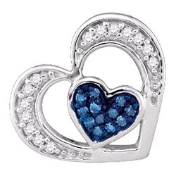 0.07 CTW Blue Color Diamond Heart Love Pendant 10KT White Gold - REF-8N9F