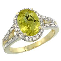 Natural 2.72 ctw lemon-quartz & Diamond Engagement Ring 14K Yellow Gold - REF-53W2K