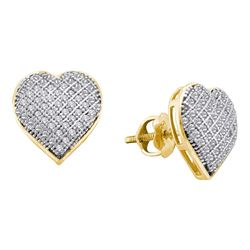 0.33 CTW Diamond Heart Love Earrings 10KT Yellow Gold - REF-24X2Y