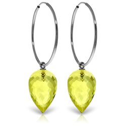 Genuine 18 ctw Quartz Lemon Earrings Jewelry 14KT White Gold - REF-32N4R