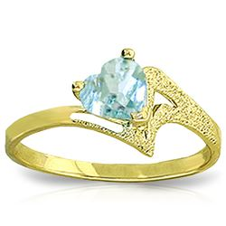 Genuine 0.95 ctw Aquamarine Ring Jewelry 14KT Yellow Gold - REF-39H3X