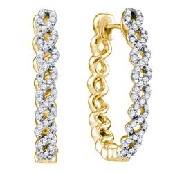 0.50 CTWDiamond Woven Hoop Earrings 10KT Yellow Gold - REF-59N9F