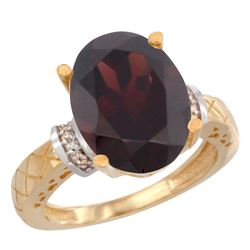 Natural 5.53 ctw Garnet & Diamond Engagement Ring 10K Yellow Gold - REF-53M5H